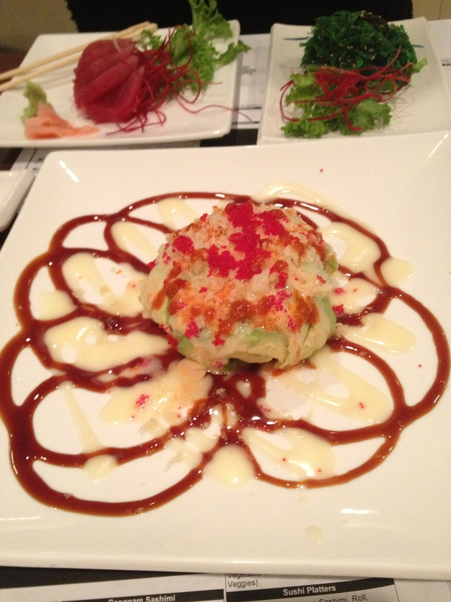Monkey Brains - seaweed salad and spicy tuna wrapped in avocado and topped with roe.