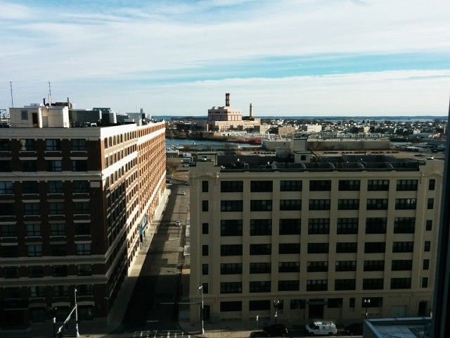 The view from my window of the Boston Waterfront area.